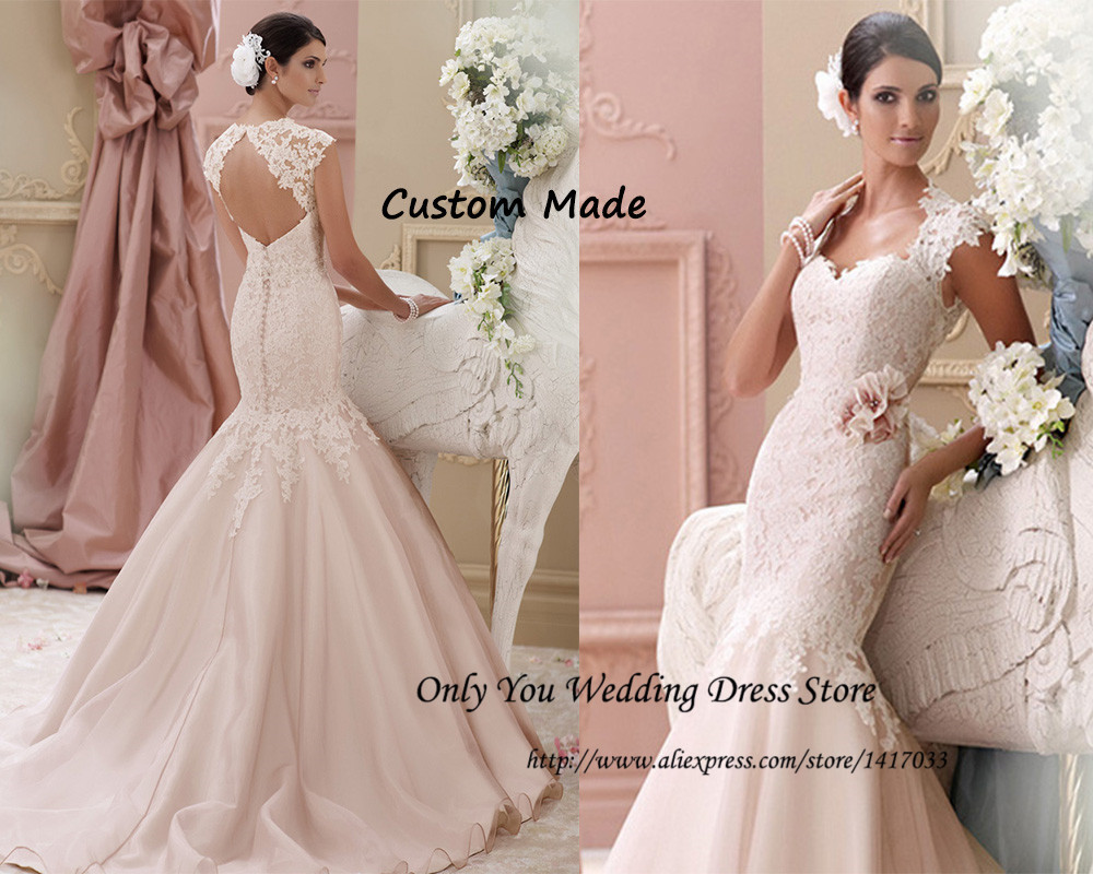Blush Pink Lace Mermaid Wedding Dresses Cap Sleeve Court