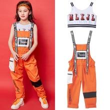 Летние джазовый танцевальный костюм детский комплект в стиле «хип-хоп» жилет для девочек и комбинезон комплект производительность уличные Танцы сценический костюм, одежда DQS1501