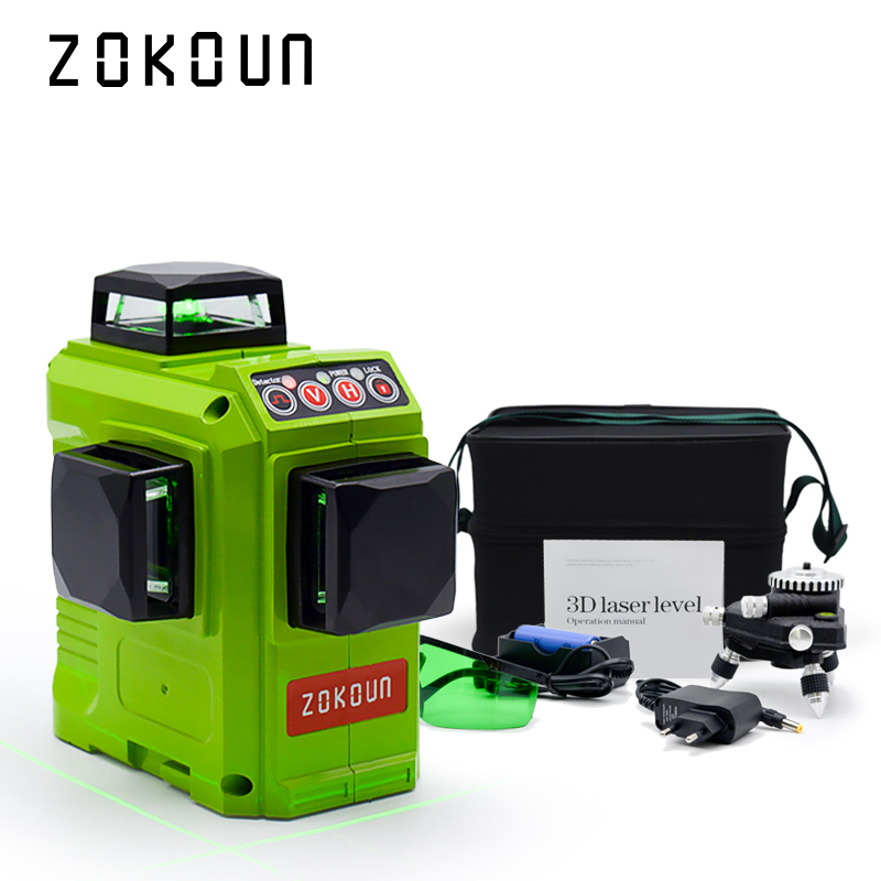 Zokoun CE certificated 3D green Line Laser Level with Lithium BATTERY and Horizontal And Vertical Lines