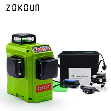 Zokoun CE certificated 3D green Line Laser Level with Lithium BATTERY and Horizontal And Vertical Lines Working Separately