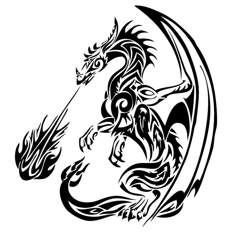 22.6cm*25cm Vinyl Car Styling Dragon Flame Waterproof Decals Car Stickers Black/Silver Car Accessories S6-2947 stickers for suzuki jimny car styling jimny sticker auto accessories reflective waterproof vinyl car decals car accessories 1pc