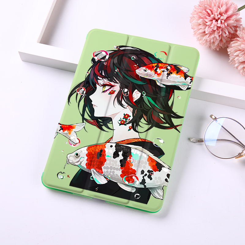 Lovely Girl Cartoon Tablet Cover For iPad Mini 1 2 3 4 5 Cases PU Leather Hard Plastic Back Smart Shell