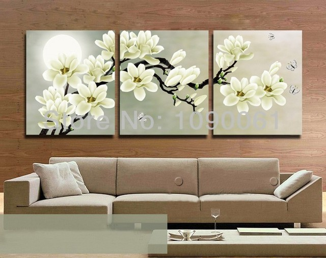 Hand Painted Flower Painting Canvas 3 Piece Wall Decor Cheap ...