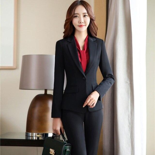 ff779ed783d1 Di Modo sottile Elegante Nero Tailleur Pantalone Autunno Inverno Giacche  Con Giubbotti E Pantaloni Per Le