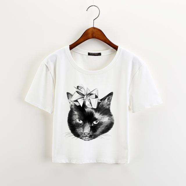 Funny Cat Short Sleeve Crop Top