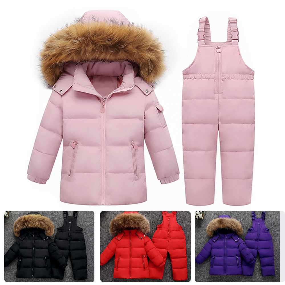 Winter Kids Clothes Girls Boys Down Coat Children Warm Snowsuit Outerwear + Pant Clothing Set Russian Children's Winter Jackets kids snowsuit clothes winter down jackets for girls boy children warm jacket toddler outerwear coat pant set deer print clothing