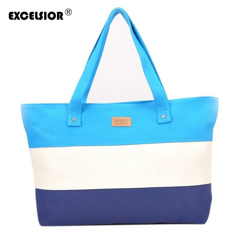 Excelsior  lona de las mujeres bolsa de playa de color de moda de rayas señora m