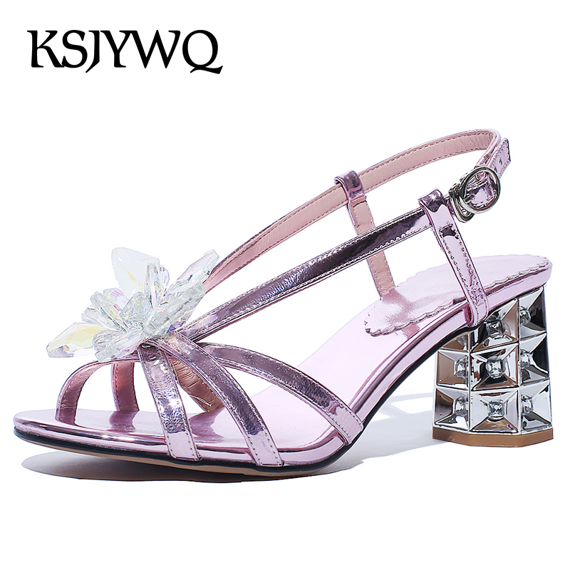 KSJYWQ Sexy Open-toe Women Sandals 7 CM Chunky Heels Silver Buckle Pumps for Party Summer Style Woman Shoes Box Packing A5096 asumer spuer heels shoes woman sexy lady fashion summer shoes flock buckle solid party shoes open toed women sandals size 34 43