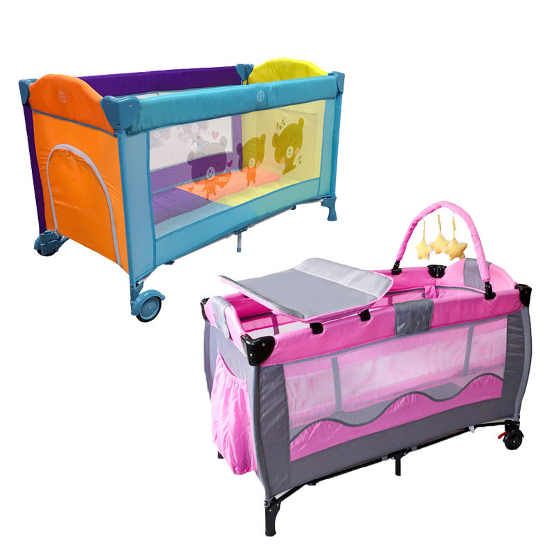 European Portable Baby Cot Crib Multifunctional Foldable Game Bed Baby Boys Girls Folding Bed Travel Portable Trolley Game Bed цены онлайн