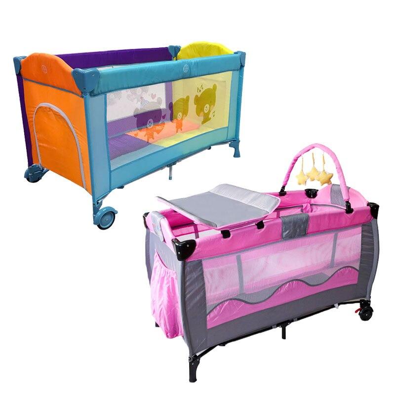 Lit de bébé Portable européen lit de jeu pliable multifonctionnel bébé garçons filles lit pliant voyage lit de jeu chariot Portable