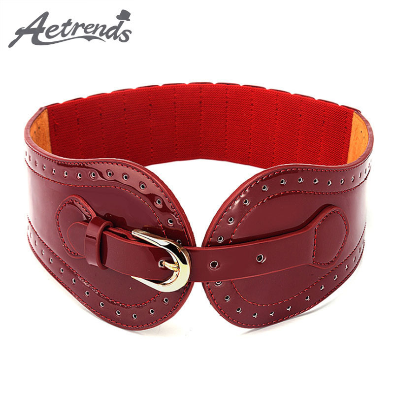 [AETRENDS] Pin Buckle PU Leather Cinch Belt Cummerbunds With Elastic Women Wide Strap Waist Belts For Dress D-0097