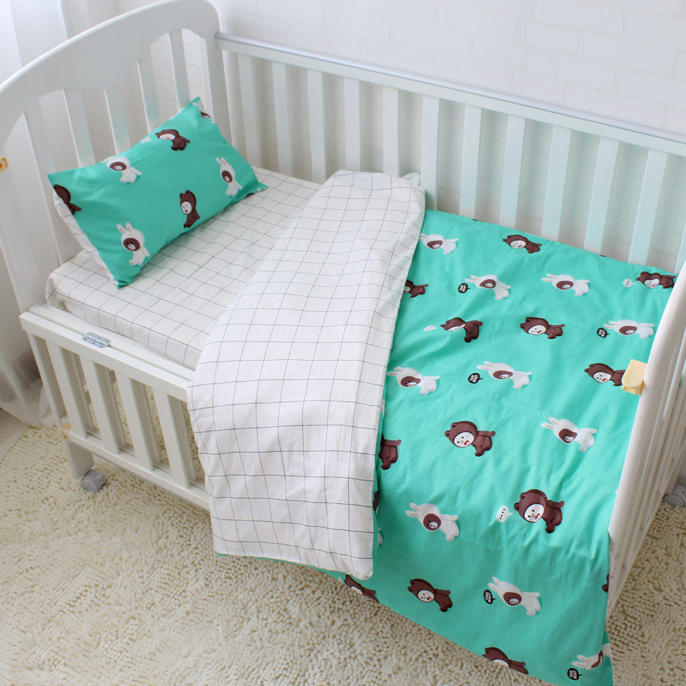 Baby bed sheet pattern - 3pcs Set Baby Bedding Set 100 Cotton Baby Crib Sets Cute Bear Pattern Baby Linen Include Duvet Cover Pillowcase Bed Sheet