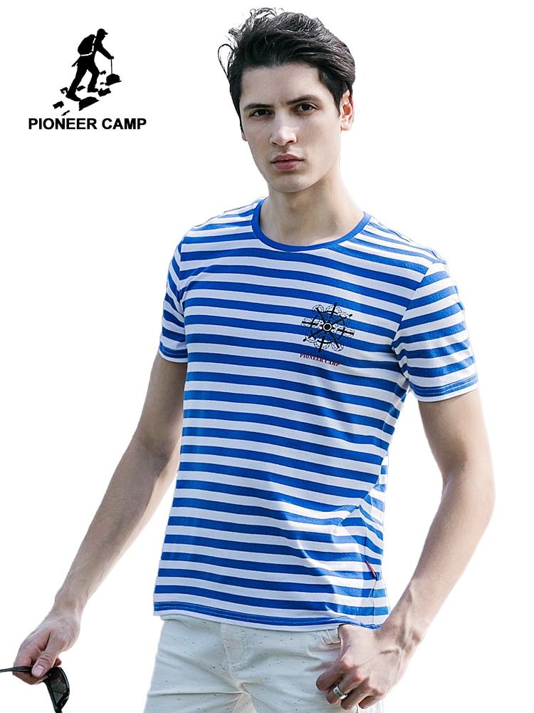 158baf7ee بايونير مخيم 2018 جديد أزياء الصيف الرجال t قميص الجيش مخطط القطن تي شيرت  لينة الراحة قصيرة الأكمام بلايز مرونة 677023