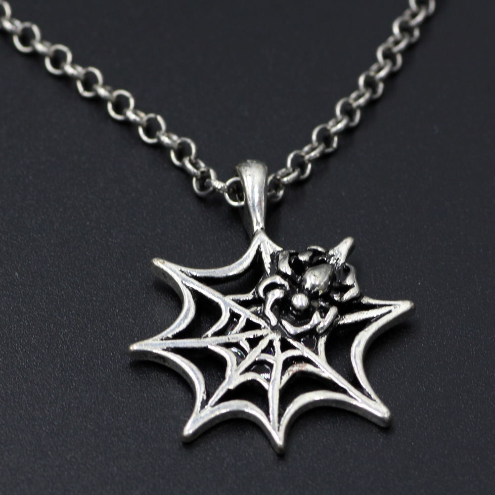 Spider Web Necklace Alloy Spider Web Pendant Halloween Necklace ...