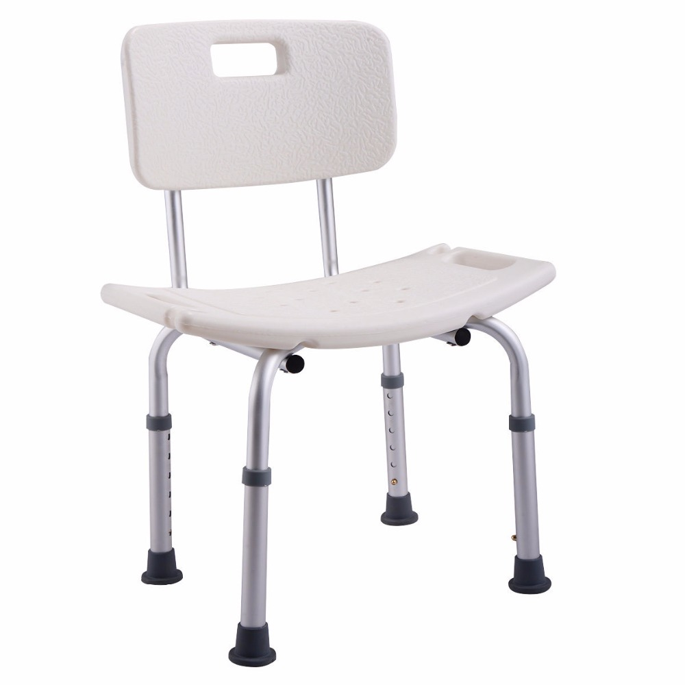 Goplus 6 Height Adjustable Bath Shower Chair Medical Seat Stool Bath Tub Elderly Pregnant Anti-skid Bathing Chair BA7151 bathroom folding seat shower stool shower wall chair stool old people anti skid toilet stool bath wall chair