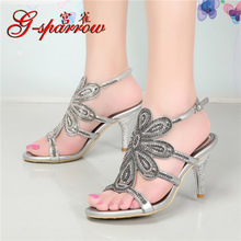 Summer 2018 Luxury Fashion Rhinestone Diamonds Shoes High Heel Stiletto Ladies Sandals Quality Gold Silver Black Blue Red