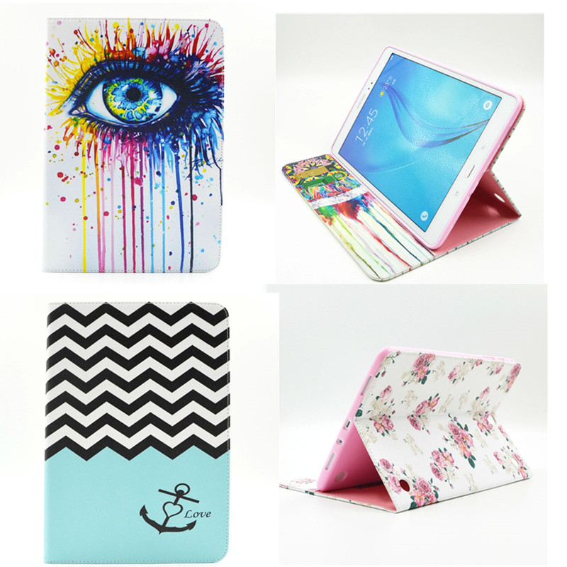 BF 2016 Hot Sale Stand PU Leather Case For Samsung Galaxy Tab A 9.7 inch SM T550 T555C T555 Beautiful Painted tablet Shell Cover pu leather tablet case cover for samsung galaxy tab 4 10 1 sm t531 t530 t531 t535 luxury stand case protective shell 10 1 inch