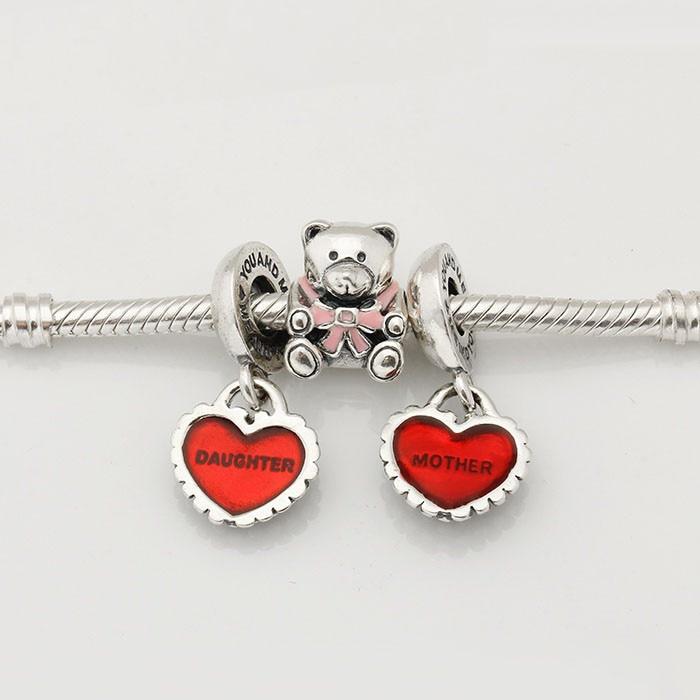 Fit European Silver Charms Bracelet 925 Sterling Silver Charm Sets Pink Bear & Heart Bead for Women & Men Jewelry
