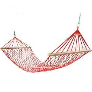 Image 1 - Outdoor camping przenośny hamak jednoosobowa siatka lina nylonowa huśtawka kryty dziecięcy hamak rekreacyjny