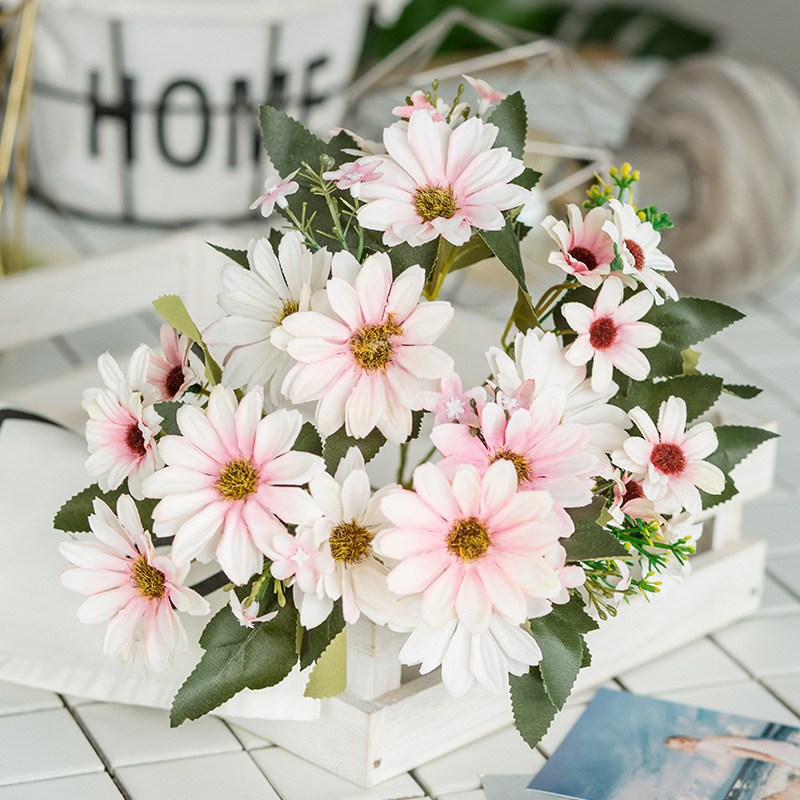 9 Stems Artificial Flower Bouquet Simulation Silk <font><b>Gerbera</b></font> <font><b>Daisy</b></font> Sunflowers Wedding Living Room Table Vase Decorative Fake <font><b>Plant</b></font> image