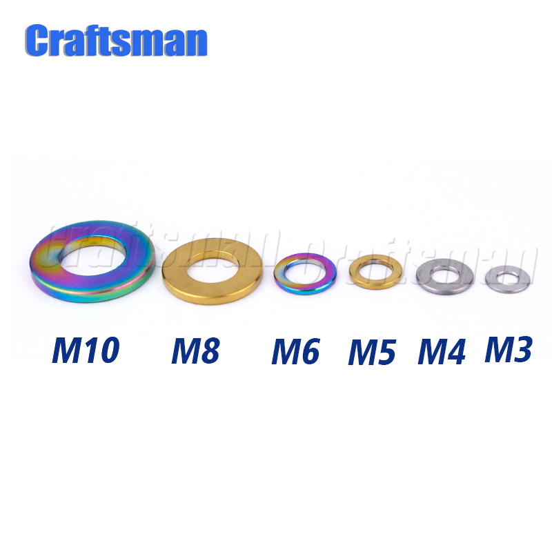 1Pcs Craftsman M5 M6 <font><b>M8</b></font> M10 Titanium Flat <font><b>Washer</b></font> DIN912 Titanium Spacer for Bicycle Motorcycle Parts image