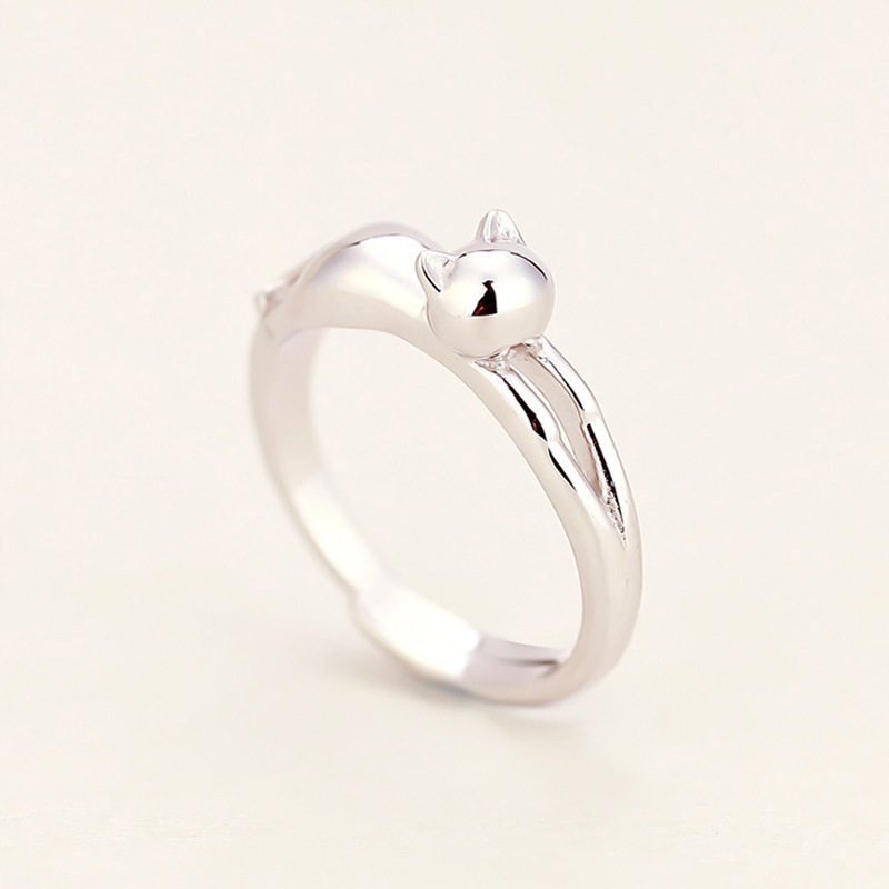 lady jewelry party silver cat girls ring fashion size ears open kitten women design top from for plated rings quality young gift in item