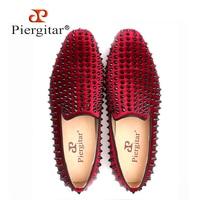 Handmade men velvet shoes with black rivets Fashion party and wedding men loafers Italian style smoking slipper men's falts