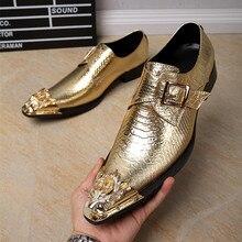 Новый 2017 Металл С Острым Носом Формальные Обувь Мужчин Оксфорды пряжка Поскользнуться На Красивый Мужские Бизнес Кожаные Ботинки Плюс Размер 38-46