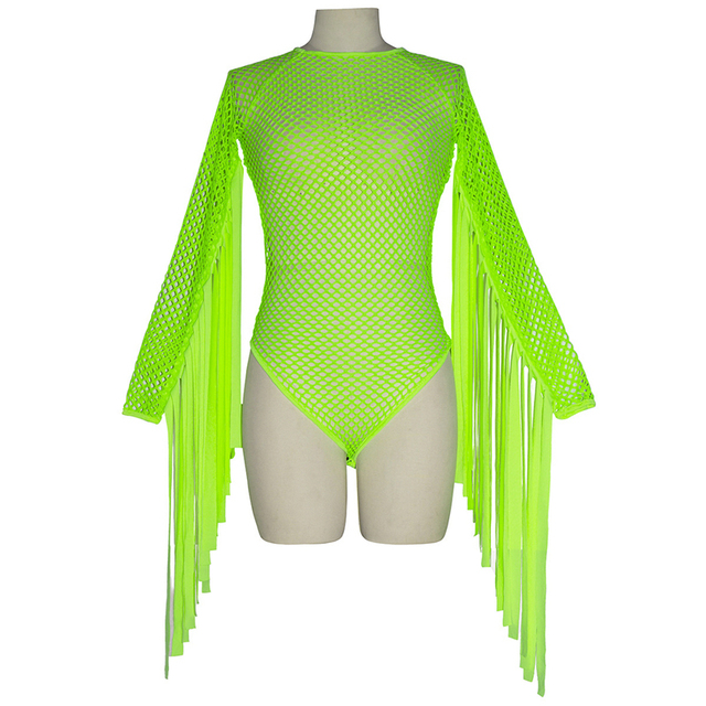 Neon Green Fishnet Grid Tassel Bodysuits Women Long Sleeve See Through Jumpsuit Party Clubwear Rave Festival Clothing Playsuit 4