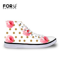 FORUDESIGNS Women's Flats Canvas Shoes Vintage Pink Flower and Gold Dots Printing Casual High Top Ladies Shoes Female Sneakers