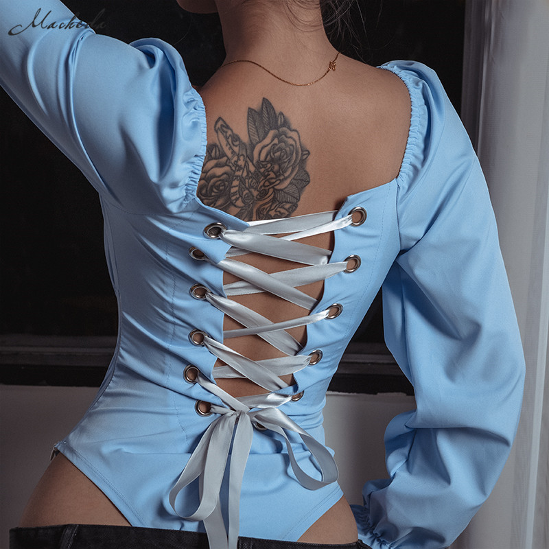 Macheda Fashion Lace Up Backless Bodysuit Women Solid Long Sleeve Slim Bodysuits Square Collar Skinny Casual Bodysuit 2018 New