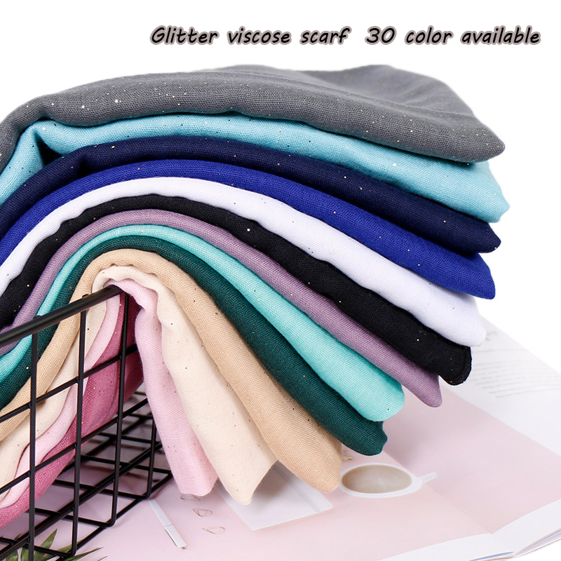 women glitter viscose hijab   scarf   Solid color shimmer muslim   scarves     wrap   long muslim voile Islamic plain   scarves  /  scarf   30 color