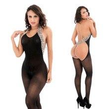 Women Sexy Lingerie Leopard Hanging Neck Bodystockings Perspective Fishnet Open Crotch Body Suit Nightwear Underwear