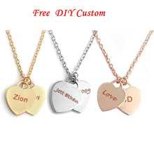 Vintage Double Heart Necklace Personalized Custom Name Date ID Engraved Necklace For Women Men Silver Link Chain Jewelry Gift vintage engraved floral body chain