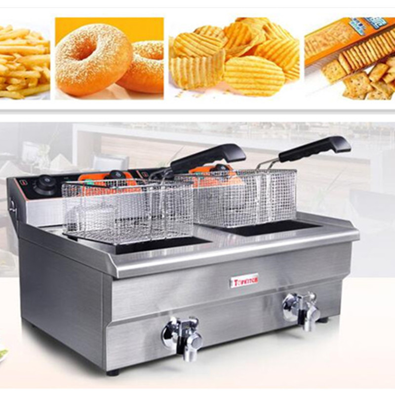 220V Multifunctional  26L Double Cylinder/13L Single Cylinder Furnace Commercial Fryer French Fries Fried Chicken EU/AU/UK/US 1pc gas type stainless steel food fryer french fryer potato fryer single cylinder double sieve fryer