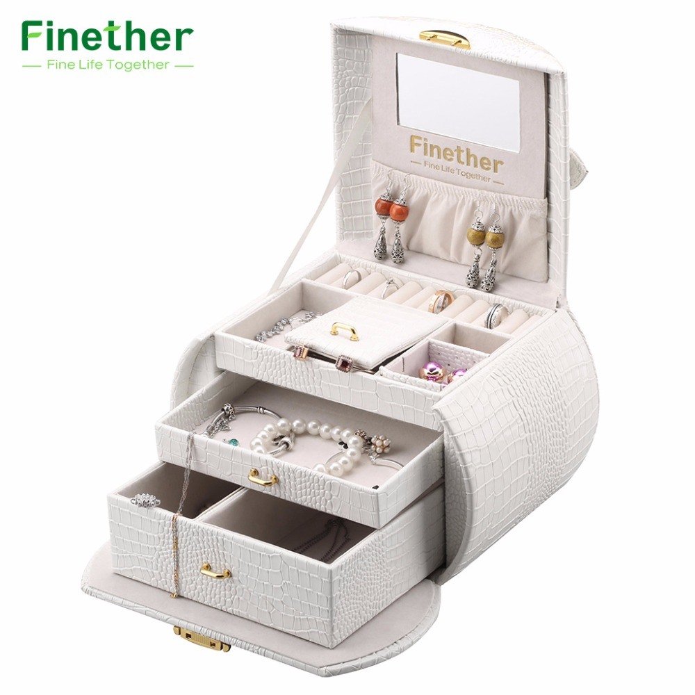 Finether Embossed Crocodile Grain Faux Leather Pattern Jewelry Box Arched Lockable Storage Organizer Cosmetic Makeup Case Gift makeup organizer box