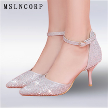 купить Size 34-45 crystal women sandals elegant thin heels party shoes Fashion pointed toe sexy high heels ankle strap wedding pumps дешево
