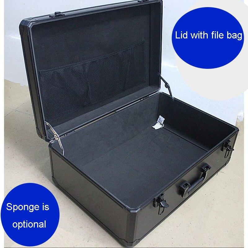 Grande caixa de ferramentas portátil caixa de ferramentas de liga alumínio caixa de armazenamento documento seguro demonstração do produto amostra display toolbox