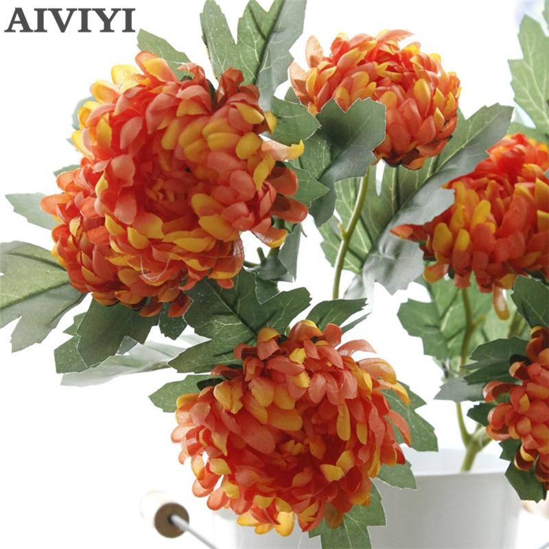 Fleurs artificielles chrysanthème en soie | Grosses fleurs, fleurs, fleurs dautomne, décorations de mariage, bricolage de fausses branches de plantes, fleur couronne