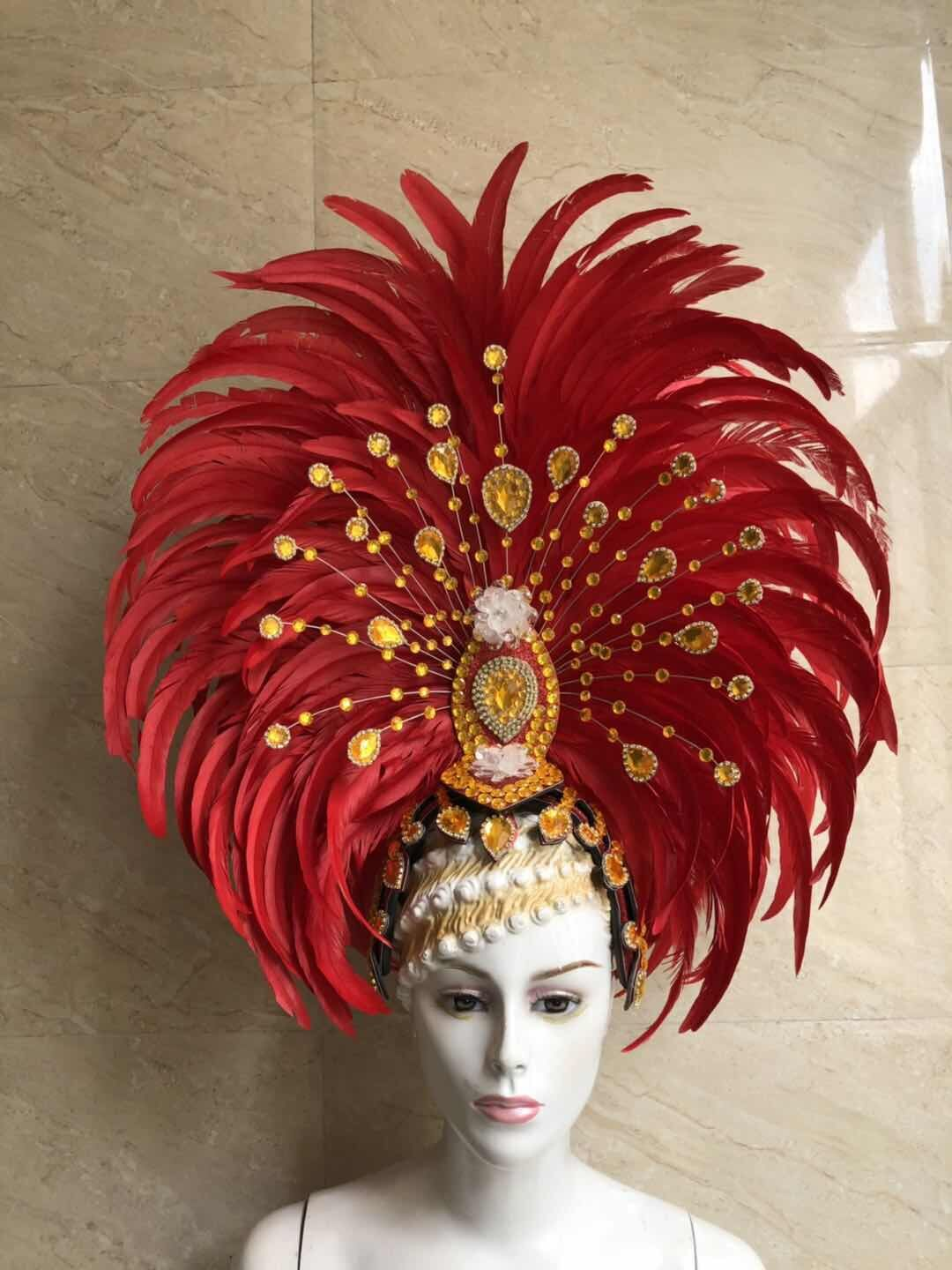 Image 4 - Feather clothing Stage performance catwalk carnival Headdress flower pubs party Men's wear women's clothing-in Women's Hair Accessories from Apparel Accessories