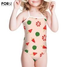 FORUDESIGNS Little Kids Cartoon Bikini Animal Prints Conjoined Pants Summer Beach Fruits Girls Outdoor Swimming Wear