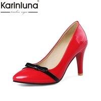 KARINLUNA New Wholesale Big Size 32 43 Elegant Bow Slip On OL Shoes Pumps Woman Spring