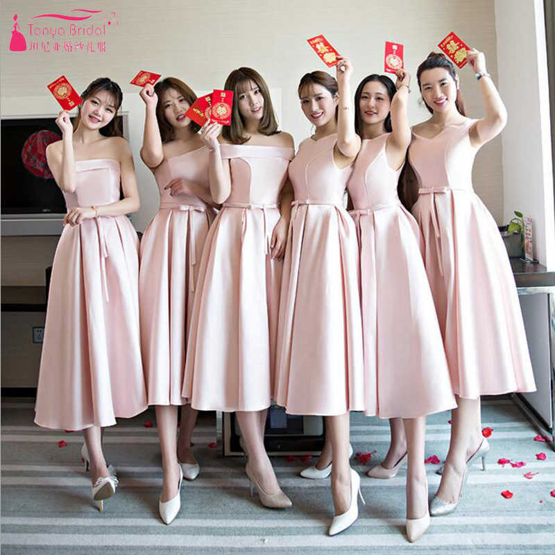 904df44938 Pink Tea Length Bridesmaid Dresses Simple Satin Cheap African ...