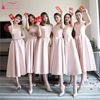 Pink Tea Length Bridesmaid Dresses Simple Satin Cheap African Fashion Vestidos De Festa Wedding Party Gown