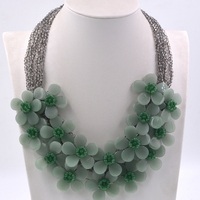 2018 New Arrival Fashion Jewelry Natural stone Green Aventunie flower choker necklace for womens female vintage jewelry