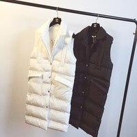 MUMUZI 2019 spring long duck down vests new morality fashion female winter warm tops cotton jacket sleeveless vest coat