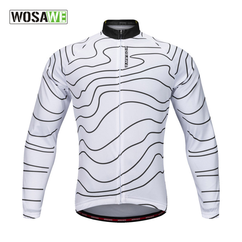 WOSAWE Men Outdoor Sports Full Sleeve Cycling Jersey Quick Dry Breathable Bike Jerseys Coat Bicycle Bicicleta Cloth S 2XL
