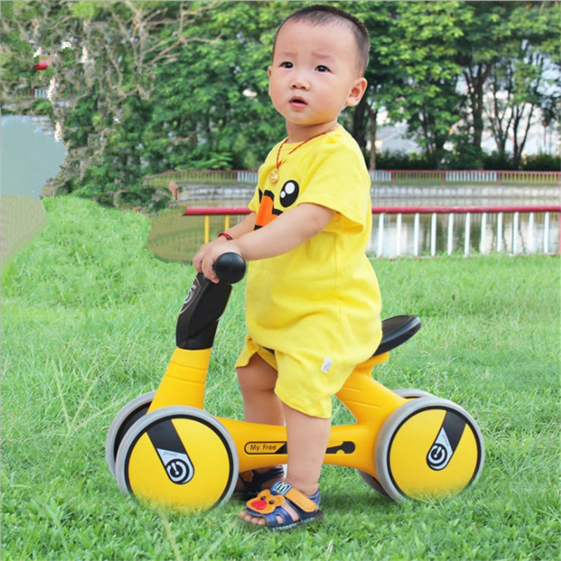 Useful 1pc Kids Walker Cartoon No Foot Pedal Lightweight Four Wheel Scooter Driving Bike Balance Bikes For Toddlers Baby Children Activity & Gear