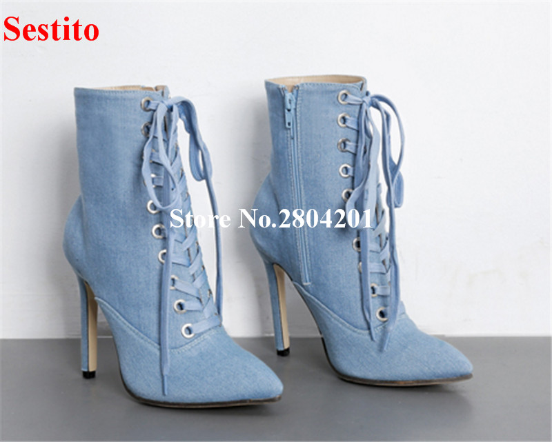 Mujer Sexy Denim Ankle Boots Lace Up Pointed Toe Jeans Shoes Cross-tied Zipper Stiletto Heel Fashion Cowboy Boots for Women kaeve blue denim lace up ankle boots fashion casual thin heels cross tied pumps round toe cowboy shoes jean snow boots