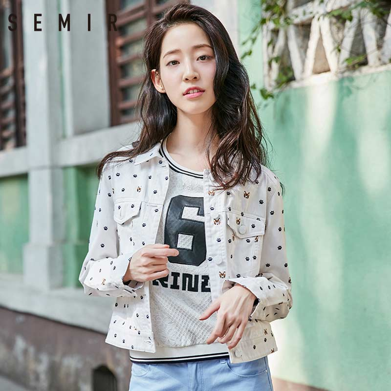 SEMIR   Jacket   Womens Casual   Jackets   Ladies Color Block Turn-down Collar Long Sleeve   Basic     Jacket   short Coat Outwear clothing